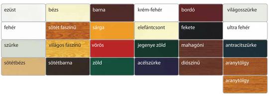 Redőnylamella színek